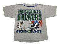 Vintage 90s Milwaukee Brewers Mens Large SUN Sportswear Looney Baseball Jersey