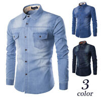 Men's Stylish Pockets Denim Shirt Lapel Collar Long Sleeve Slim Fit Casual Top