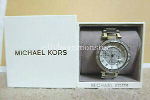 MICHAEL KORS Women Chronograph Parker Stainless Steel Bracelet Watch MK5353 NEW