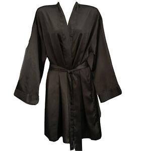 Victoria's Secret Black Satin Robe Womens One Size