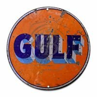 Vintage Design Sign Metal Decor Gas and Oil Sign - Gulf Motor Oil and Gasoline