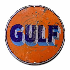 "Vintage Gulf Gasoline Orange and Blue (Reproduction) 12"" Circle Aluminum Sign"