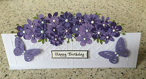 Handmade Happy Birthday card layered flowers & window box garden planter pretty