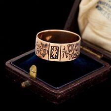 Antique Vintage Nouveau 14k Rose Gold 9 mm Chased Wedding Mens Band Ring S 10.25