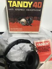 More details for vintage realistic tandy 40 hifi stereo large over ear headphones - boxed