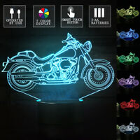 3D Motorcycle Desk Lamp 7 Color Change LED Table Touch Switch Night Light Gift