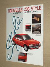 Prospectus PEUGEOT 205 Style 1993  brochure prospekt  car catalogue