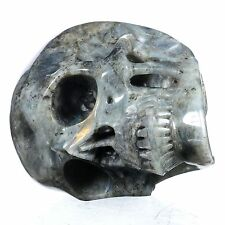 "5.94"" Natural Labradorite Carved Smiling Skull,Collectibles 22Q77"