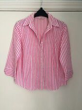 Womens size 10 Marks & Spencer pink white striped blouse 3/4 length sleeves