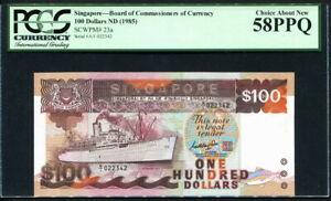Singapore 1985, 100 Dollars, P23a, PCGS 58 PPQ AUNC