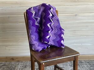 """84"""" X 40"""" purples and white.  Granny Made Blanket Multi-Color Cottage"""