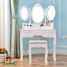 Dressing Table Set, 3 Oval Mirror & Stool Set (7 Drawer) Makeup Desk Bedroom