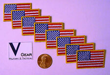 US USA American Flag Patch SMALL 1 x 1 1/2 GOLD Border **LOT of 8**