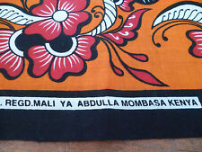 True vintage but new rare Kenyan cotton sarong orange/red/black/white