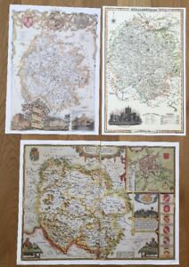 3 x Old Antique Colour maps of Herefordshire, England: 1600's & 1800's: Reprint