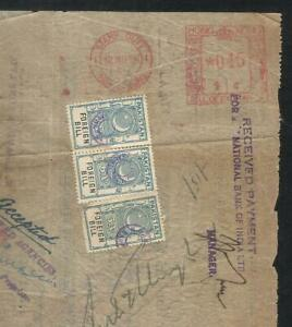 Hong Kong China 1956 Meter Mark with Pakistan Revenue Stamps on Used Document Pa