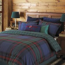 Bold Check Tartan Design Duvet Cover Set in Blue with Green & Red Double Size