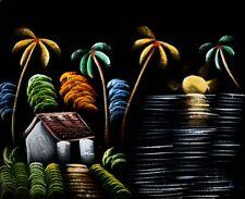 "Painting On Velvet Cloth Beautiful Night scene in a Village 19""X16"" Best Price"