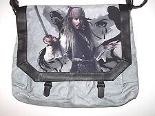 "PIRATES Carribean DISNEY DEPP Men's Messenger  Bag 15 x 13 x 1.5""  Canvas Grey"