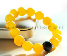 Pretty Natural 12MM Yellow Jade & Black Agate Round Gems Beads Stretchy Bracelet