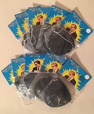 Lot Of 10 Vintage NEW Black Plastic Eye Patches Pirate Costume In Package