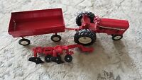 Vintage ERTL Tractors with 3 Bottom Plow, International Harvester and Wagon