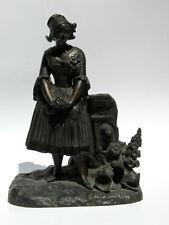 Antique Austrian Vienna Bronze Statue Sculpture Dutch Girl The Broken Pitcher EX