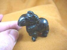 (Y-Ram-561) black green Jasper Ram Sheep carving gem stone Figurine Big Horn