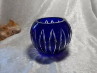 COBALT BLUE Glass Votive / Candy Dish Mid Century Unmarked 5""