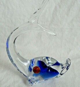 MURANO ART GLASS LONG TAIL FISH PAPERWEIGHT COBALT BLUE AND CRYSTAL WITH LABEL