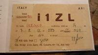 OLD VINTAGE QSL HAM RADIO CARD POSTCARD, ASTI ITALY 1963
