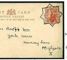 GB UPP JUBILEE EXHIBITION  3d Rate Empire Card Used 1890 Huggins CP25 £250+ E51c