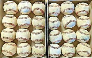 2 dozen used baseballs (all leather, Mostly MLB/MILB league baseballs)