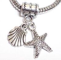 STARFISH & SEASHELL_Bead Fits European Charm Bracelet_Ocean Marine Beach Sea