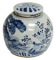 """Vintage Style Blue and White Porcelain Lidded Ginger Jar Floral Motif 10"""""""