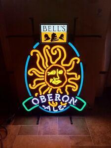 BELLS OBERON ALE BEER SUN GOD LIGHT UP BACK BAR LED SIGN GAME ROOM MAN CAVE NEW