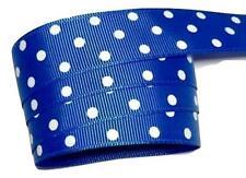"5 yards Royal blue polka dot print 7/8"" grosgrain ribbon by the yard DIY"