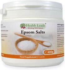 Health leads Pure, Food Grade Epsom Salts 400g, Magnesium Sulphate, Vegan, Non-G