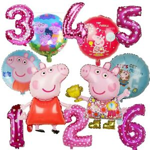 """Peppa Pig Girls Happy Birthday Party Foil Helium Large 32"""" Age Number Balloons"""
