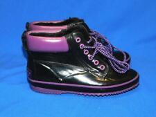Vintage Sporto Size 6 Black Purple Rain Boots Lace Up Ankle Rubber Fleece Lined
