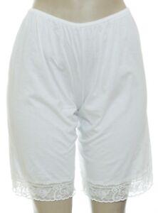 "Cotton Blend White Pettipants Bloomer Slip Short 18"" Length Size 9 Lace Trim 759"