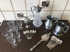 More details for job lot , vintage , silver , silver plate, pewter & glass ware , collectable