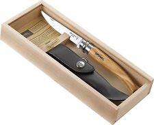 Opinel Wooden Gift Box 10 cm Slim Knife No. 10 Olive Wood Handle w/Sheath 001090