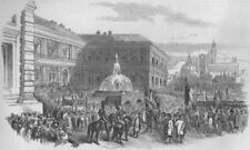 ITALIAN REVOLUTION 1848.Political Demonstration in Florence(Palais Pitti), 1847
