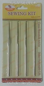 4 Crochet Hooks Needles Steel 1 mm 1.5 mm 2.5 mm and 3 mm All in a Pack - NEW