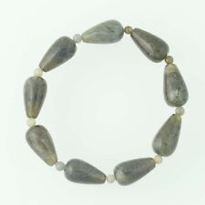 New Green Labradorite Bead Bracelet Beaded stone Stretch Band Women's Statement