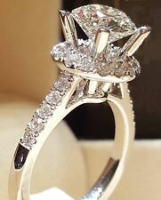 Cut Man Made Diamond Engagement Ring 14K Solid Gold Finish Antique Style Round