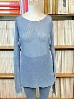 SEAFOLLY S UK 10 Jumper Sweater Blue Cotton Open Knit Beach Draped Oversize US 6