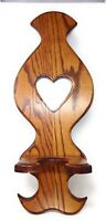 OAK WOOD HEART-SHAPED MIRRORED OIL LAMP WALL HOLDER