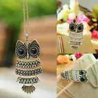 Vintage Retro Women Bronze Owl Charm Pendant long Chain Sweater Necklace Gift